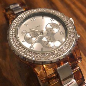 GUC Loft Tortoise Shell Bling Watch